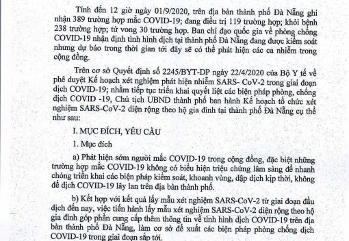 Kế hoạch số 5857/KH-UBND ngày 2/9/2020 của UBND thành phố Đà Nẵng về tổ chức xét nghiệm Sars-Cod-2 diện rộng theo hộ gia đình tại thành phố Đà Nẵng