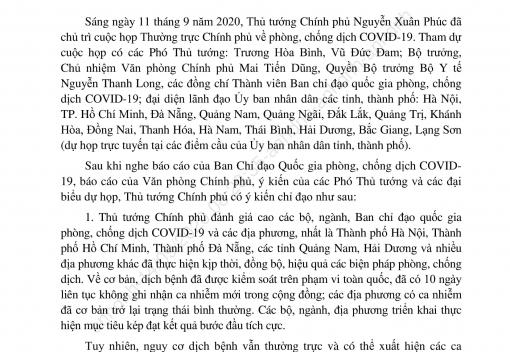 Thông báo số 326/TB-VPCP ngày 13/9/2020 của Văn phòng Chính phủ về Kết luận của Thủ tướng Chính phủ Nguyễn Xuân Phúc tại cuộc họp Thường trực Chính phủ về phòng, chống dịch Covid-19