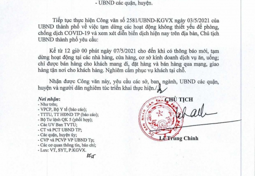 Công văn số 2707/UBND-KGVX ngày 6/5/2021 của UBND thành phố về tiếp tục dừng dịch vụ để phòng, chống dịch Covid-19