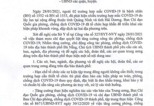 Công văn số 488/UBND-SYT ngày 28/01/2021 của UBND thành phố Đà Nẵng về tiếp tục quyết liệt triển khai công tác phòng, chống dịch Covid-19
