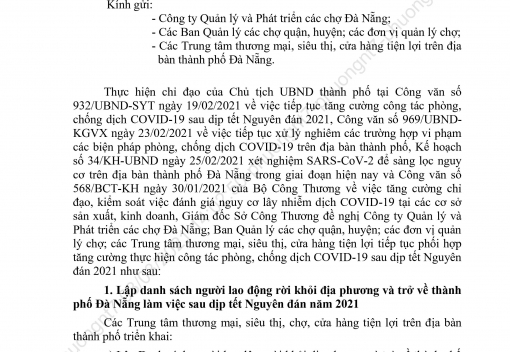 Công văn số 330/SCT-KTATMT về đánh giá nguy cơ lây nhiễm dịch Covid-19 và lập danh sách người lao động rời khỏi địa phương và trở về thành phố Đà Nẵng làm việc sau dịp Tết Nguyên đán 2021