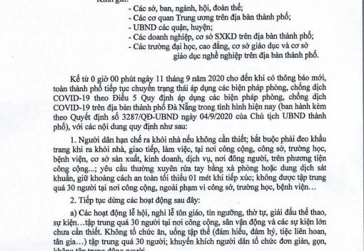Quyết định số 6055/QĐ-UBND ngày 10/9/2020 của UBND thành phố về tiếp tục chuyển trạng thái áp dụng các biện pháp phòng, chống dịch Covid-19 trên địa bàn thành phố Đà Nẵng