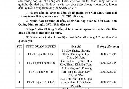 Thông báo của Sở Y tế thành phố Đà Nẵng về khai báo, xét nghiệm người trở về từ ổ dịch tại tỉnh Hải Dương, Quảng Ninh và liên quan đến các ổ dịch khác