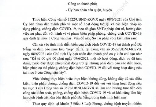 Công văn số 1642/STP-PB-QLXL-TDTHPL ngày 10/6/2021 của Sở Tư pháp thành phố về hướng dẫn xử phạt vi phạm hành chính trong phòng, chống dịch Covid-19