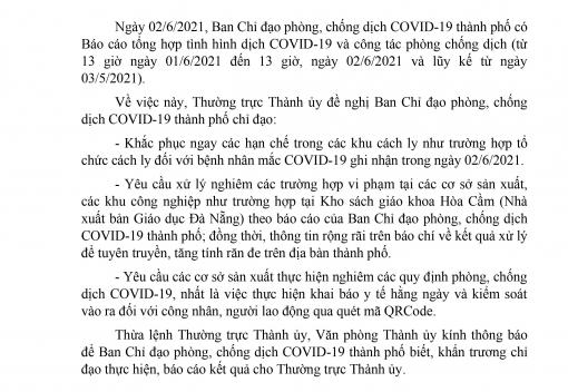 Công văn số 653-CV/TU ngày 3/6/2021 của Thành ủy Đà Nẵng về chấn chỉnh, xử lý nghiêm các vi phạm trong công tác phòng, chống dịch Covid-19