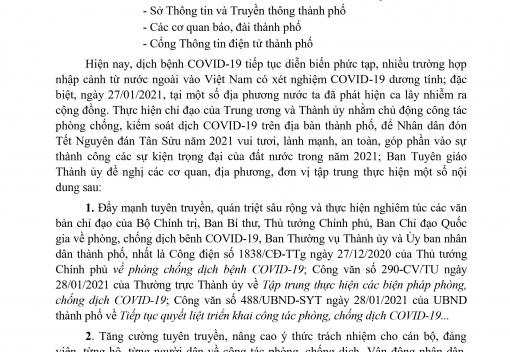 Công văn số 164-CV/BTGTU ngày 29/01/2021 của Ban Tuyên giáo Thành ủy Đà Nẵng về tập trung tuyên truyền các biện pháp phòng, chống dịch Covid-19