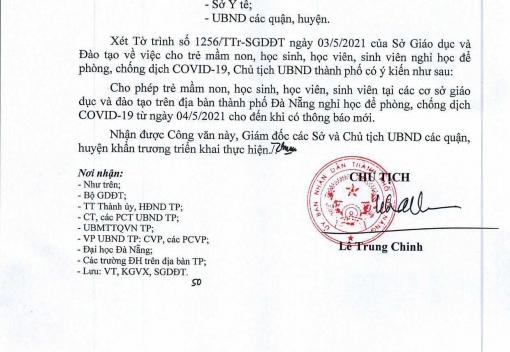 Công văn số 2582/UBND-SGDĐT ngày 03/5/2021 của UBND thành phố về học sinh, học viên, sinh viên nghỉ học để phòng, chống dịch Covid-19