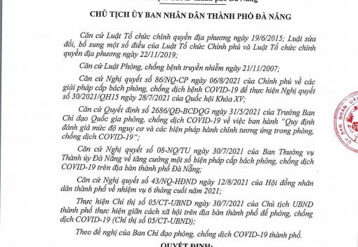 Quyết định số 2788/QĐ-UBND ngày 14/8/2021 của UBND thành phố về bổ sung và điều chỉnh một số biện pháp cấp bách phòng, chống dịch COVID-19
