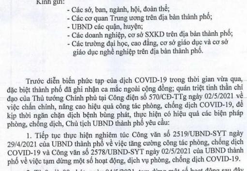 Công văn số 2581/UBND-KGVX ngày 3/5/2021 của UBND thành phố về tạm dừng các hoạt động không thiết yếu để phòng, chống dịch Covid-19