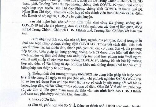 Thông báo số 337/TB-VP ngày 6/7/2021 của Văn phòng UBND thành phố về Kết luận của đồng chí Lê Trung Chinh, Chủ tịch UBND thành phố, Trưởng ban chỉ đạo phòng, chống dịch Covid-19