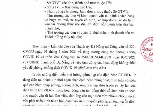 Công văn số 1919/SGTVT-QLVTPTNL ngày 04/5/2021 của Sở Giao thông vận tải thành phố về triển khai Công văn số 2581/UBND-KGVX ngày 03/5/2021 của UBND thành phố Đà Nẵng