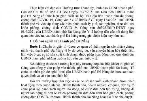 Công văn số 4427/SYT-NVY ngày 20/9/2021 của Sở Y tế thành phố về hướng dẫn việc ra, vào thành phố Đà Nẵng trong giai đoạn hiện nay
