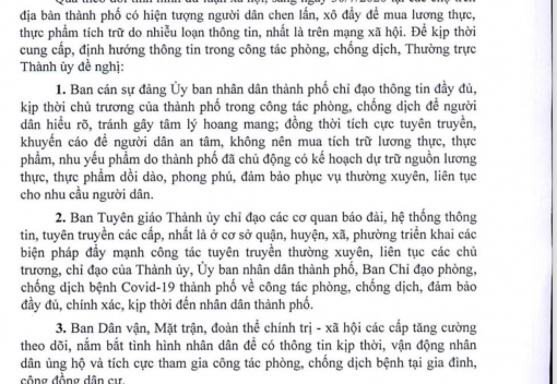 Công văn số 4519-CV/TU ngày 30 tháng 7 năm 2020 của Ban Thường vụ Thành ủy Đà Nẵng về định hướng dư luận trong công tác phòng, chống dịch Covid-19