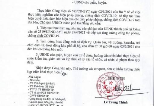 Công văn số 2578/UBND-SYT ngày 2/5/2021 của UBND thành phố về tạm dừng một số hoạt động dịch vụ để phòng, chống dịch Covid-19